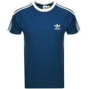 Adidas Originals California 3 Stripe T Shirt Blue